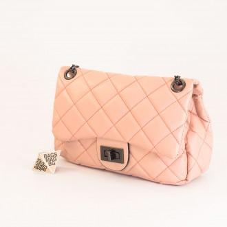 КОД: 01044-3 Малка дамска чанта от еко кожа в розов цвят