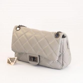 КОД: 01044-3 Малка дамска чанта от еко кожа в сив цвят