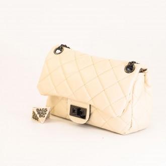 КОД: 01044-3 Малка дамска чанта от еко кожа в светло бежов цвят
