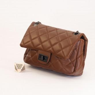 КОД: 01044-3 Малка дамска чанта от еко кожа в кафяв цвят