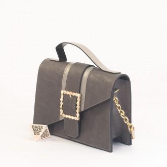 КОД: 01044-1 Малка дамска чанта от еко кожа в сив цвят