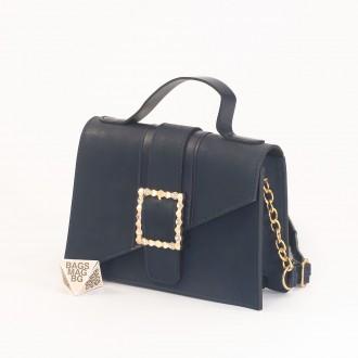 КОД: 01044-1 Малка дамска чанта от еко кожа в тъмно син цвят