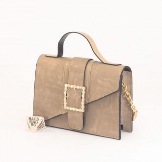 КОД: 01044-1 Малка дамска чанта от еко кожа в бежов цвят