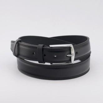 КОД : 0215 Мъжки колан от плътна и висококачествена - телешка естествена кожа 3,5 см в черен цвят