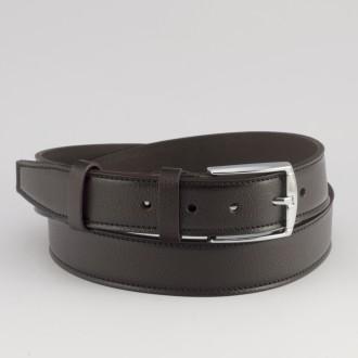 КОД : 0215 Мъжки колан от плътна и висококачествена - телешка естествена кожа 3,5 см в тъмнокафяв цвят