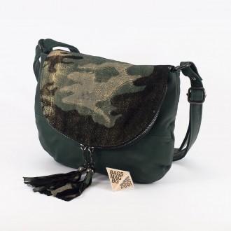 КОД: 0303 Дамска чанта от естествена кожа в зелен цвят с камуфлажен ефект