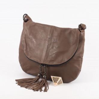 КОД: 0303 Дамска чанта от естествена кожа в цвят каки