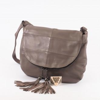 КОД: 0303 Дамска чанта от естествена кожа в сив цвят