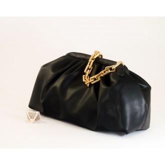 КОД:  0618 Дамска чанта от плътна и висококачествена еко кожа в черен цвят