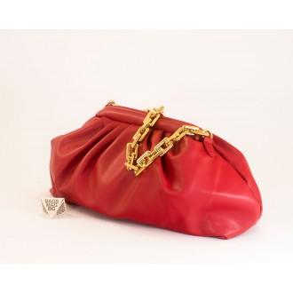 КОД: 0618 Дамска чанта от плътна и висококачествена еко кожа в червен цвят