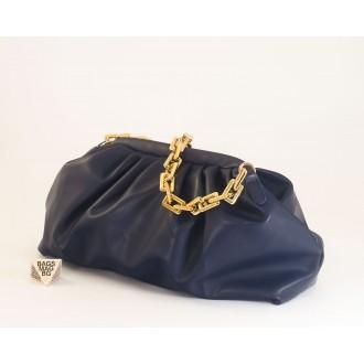КОД: 0618 Дамска чанта от плътна и висококачествена еко кожа в син цвят
