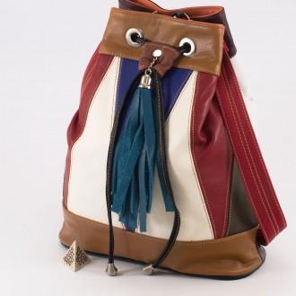КОД : 0707 Дамска чанта тип торба от естествена кожа на парчета в шарени цветове 4