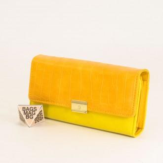 КОД : 0771 Дамски портфейл от плътна и висококачествена еко кожа в жълт цвят