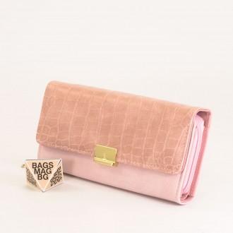 КОД : 0771 Дамски портфейл от плътна и висококачествена еко кожа в розов цвят