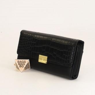 КОД : 0771 Дамски портфейл от плътна и висококачествена еко кожа в черен цвят