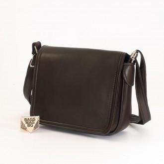 КОД: 0772 Дамска чанта от естествена кожа в тъмно кафяв цвят