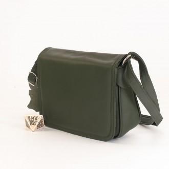 КОД: 0772 Дамска чанта от естествена кожа в маслено зелен цвят
