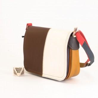 КОД: 0772 Дамска чанта от естествена кожа на парчета в шарени цветове