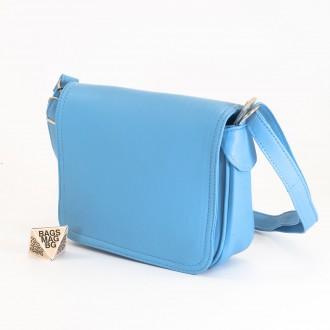 КОД: 0772 Дамска чанта от естествена кожа в светло син цвят
