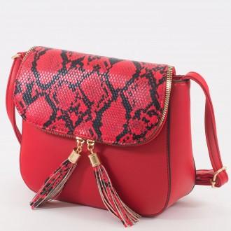 КОД: 0922 Дамска чанта от плътна и висококачествена еко кожа в червен цвят