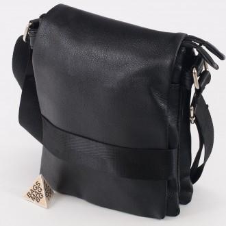 КОД: 1207 Мъжка чанта от плътна и висококачествена еко кожа в черен цвят