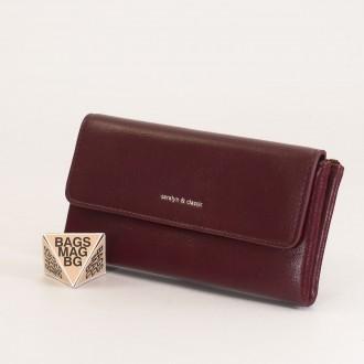 КОД : 1210 Дамски портфейл от плътна и висококачествена еко кожа в цвят бордо