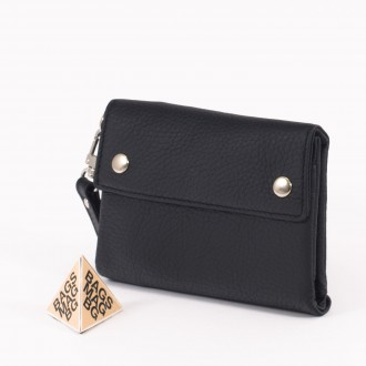 КОД : 1530 Дамски портфейл от естествена кожа в черен цвят