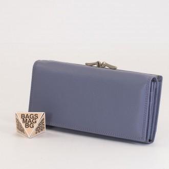 КОД : 1653 Дамски портфейл от естествена кожа в лилав цвят