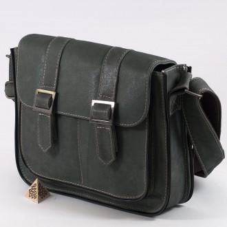 КОД : 1772 Чанта от естествена кожа в цвят светъл деним