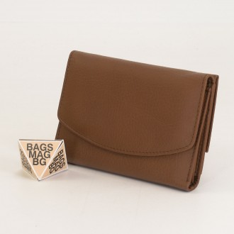 КОД : 1866 Дамски портфейл от естествена кожа в цвят кафе
