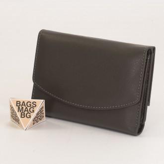 КОД : 1866 Дамски портфейл от естествена кожа в сив цвят