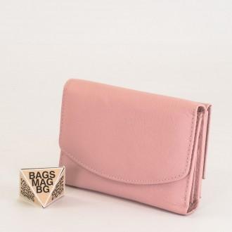 КОД : 1866 Дамски портфейл от естествена кожа в розов цвят