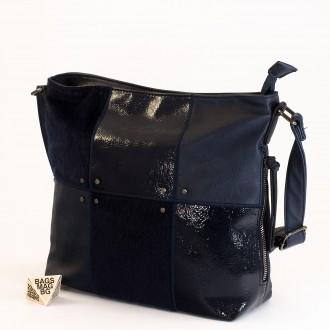 КОД : 1886 Дамска чанта от плътна и висококачествена еко кожа в тъмно син цвят