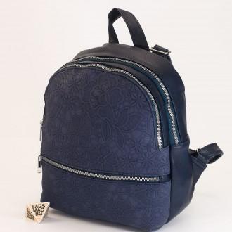 КОД: 19601 Дамска раница от плътна и висококачествена еко кожа в син цвят