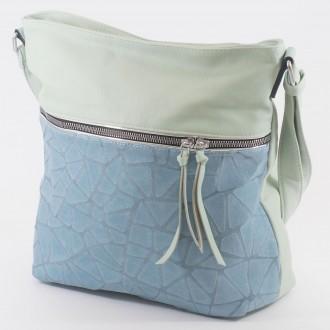 КОД : 2286 Дамска чанта от плътна и висококачествена еко кожа в цвят мента