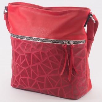 КОД : 2286 Дамска чанта от плътна и висококачествена еко кожа в червен цвят