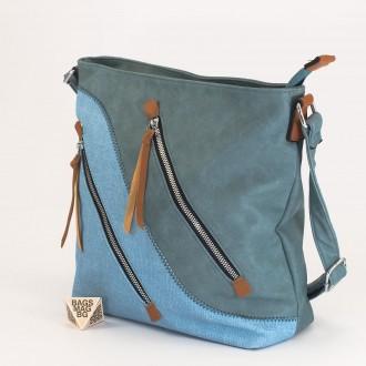 КОД : 2316 Дамска чанта от плътна и висококачествена еко кожа в син цвят