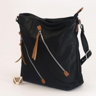 КОД : 2316  Дамска чанта от плътна и висококачествена еко кожа в черен цвят