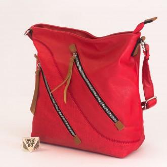 КОД : 2316 Дамска чанта от плътна и висококачествена еко кожа в червен цвят