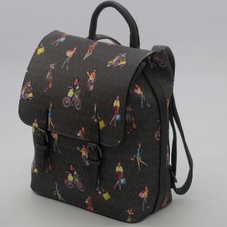 КОД: 2352 Дамска раница/чанта от плътна и висококачествена еко кожа в сив цвят