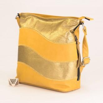 КОД : 2359 Дамска чанта от плътна и висококачествена еко кожа в жълт цвят