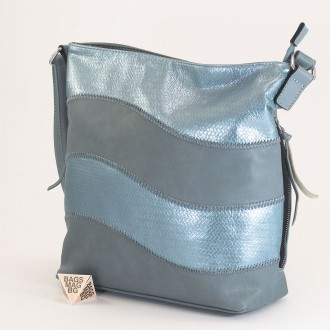 КОД : 2359 Дамска чанта от плътна и висококачествена еко кожа в син цвят