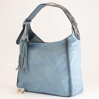 КОД : 2383 Дамска чанта тип торба от плътна и висококачествена еко кожа в син цвят