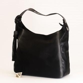 КОД : 2383 Дамска чанта тип торба от плътна и висококачествена еко кожа в черен цвят