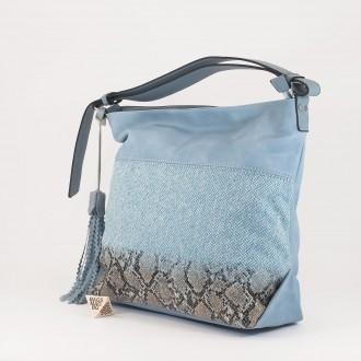 КОД : 2387 Дамска чанта тип торба от плътна и висококачествена еко кожа в син цвят