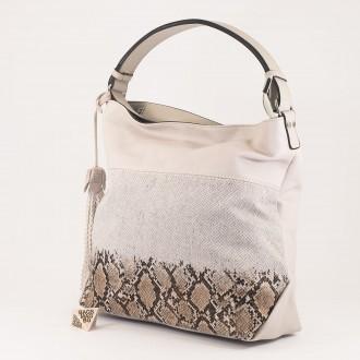КОД : 2387 Дамска чанта тип торба от плътна и висококачествена еко кожа в сив цвят