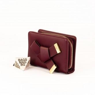 КОД : 277 Дамски портфейл от плътна и висококачествена еко кожа в цвят бордо