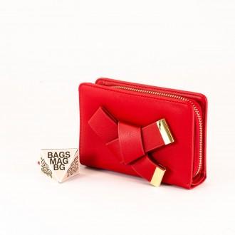 КОД : 277 Дамски портфейл от плътна и висококачествена еко кожа в червен цвят