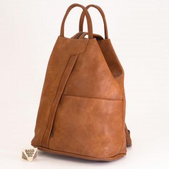 КОД: 3490 Дамска раница / чанта от плътна и висококачествена еко кожа в кафяв цвят