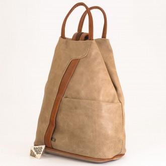 КОД: 3490 Дамска раница / чанта от плътна и висококачествена еко кожа в цвят каки